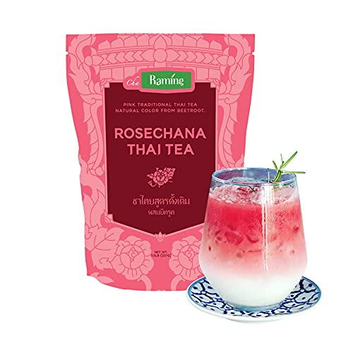 Rosa Thai-Tee-Mischung, Rosechana - 100% natürliche lose Blätter Assam & Rote Beete, macht thailändischen Eistee und Boba-Tee - von Raming Thailand, 227g (8 oz)