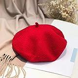 mlpnko Hut einfarbig Wolle Baskenmütze Damen Wilde Maler Hut Jugendmode Kürbis Hut rot rot Code