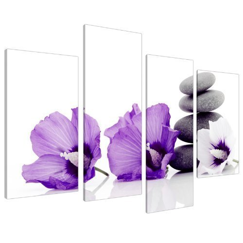 Large Purple Flower Floral Canvas Wall Art Pictures XL Prints Set 4071 by Wallfillers