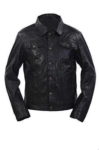 Infinity Männer Retro Trucker Stil Slim Fit Beiläufige Schwarze Lederhemd Jeansjacke (L)