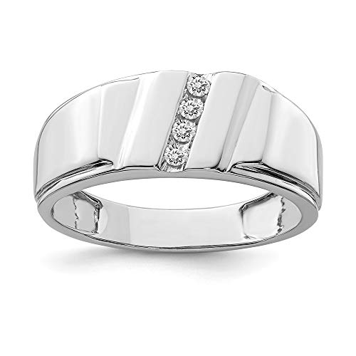 925 Sterling Silver Diamond Mens Band Ring Size 11.00 Man Fine Jewellery For Dad Mens Gifts For Him