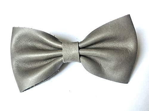 Fliege -Stein- aus Leder in grau