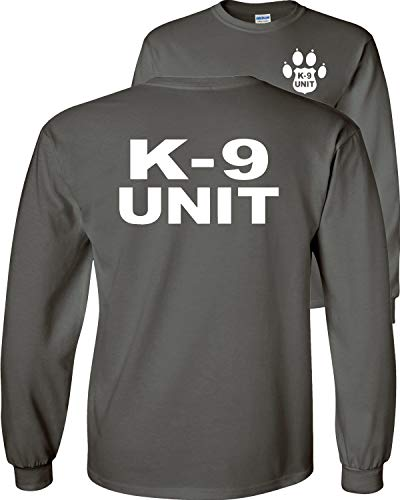 Fair Game K-9 Unit Police Long Sleeve T-Shirt Officer Dog Canine k9 v2-Charcoal-Large