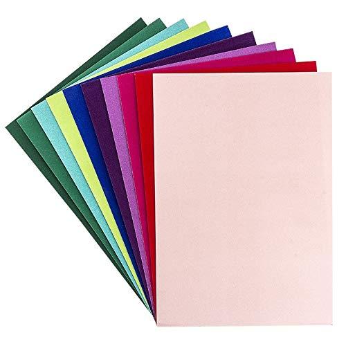 Decoratiepapier met hart en fluweelpapier, decoratief papier, effectkarton fluweel, 10 vellen, DIN A4, 200 g/m2