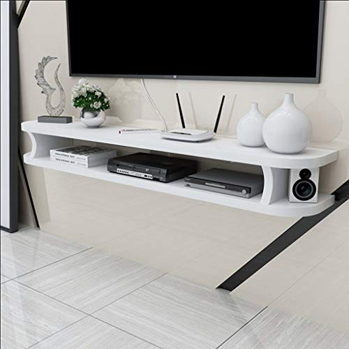 QARYYQ Wall Media Console for DVD Blu-ray Player, TV Stand, Satellite TV Box, Cable Box, TV Unit, Floating Frame Wall Mount Shelf (Color : White, Size : 120cm)