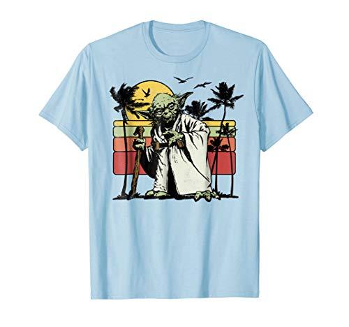 Star Wars Yoda Retro Striped Vintage Sunset Beach T-Shirt T-Shirt
