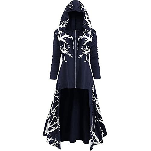 Túnica con capucha de capa Disfraz de Halloween para cosplay para adultos Vestido gótico Moda Manga larga Vintage Sólido Talla grande Cremallera Steampunk Suéter alto y bajo Capa Prendas de abrigo