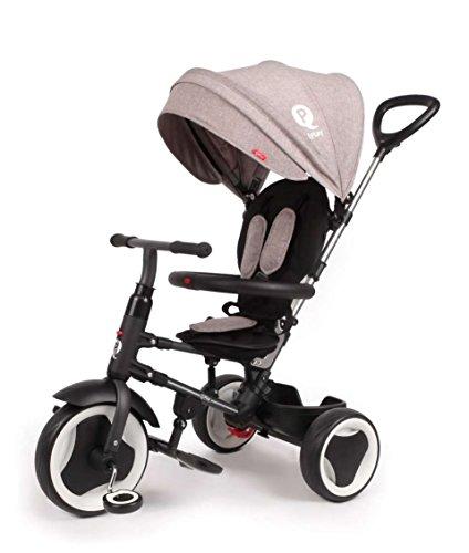 QPLAY Triciclo Evolutivo Plegable Rito - Gris - Niños de 10 hasta 36 Meses - Peso soportable hasta 25 Kg