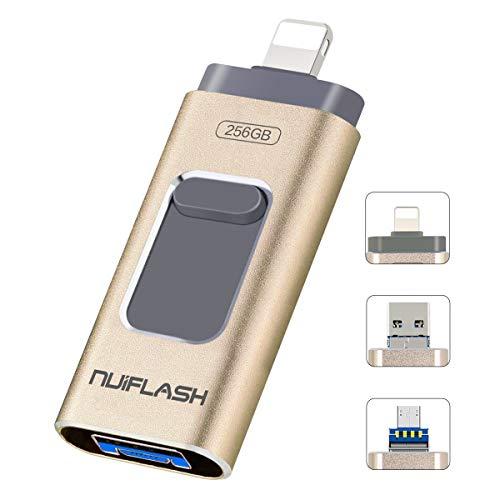 Memoria USB de 256 GB para iPhone, memoria USB para dispositivos iOS, memoria externa [3 en 1] compatible con iPhone, iPad, iOS, Android, Mac, PC (256 GB, dorado)