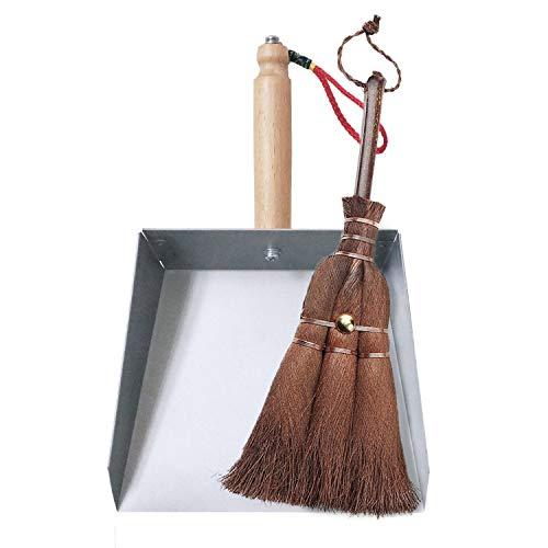 Huibot Mini Metal Dustpan and Brush Set Handmade Natural Bristle Hand Broom