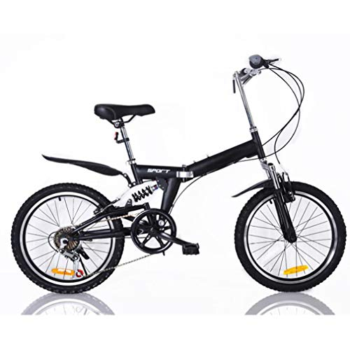 B-D Bicicletas Plegables De 20 Pulgadas para Mujer, Marco De Acero De Alto Carbono, Doble Suspensión Ligera Bicicleta Plegable Urbana para Estudiante Unisex, 5 Opciones De Color,Negro