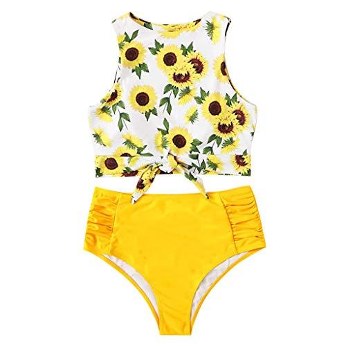 Damen Schwimmen Sport Yoga Fitness Tankini Shorts Strand Teilt Bikini Set Gefüllter Frauen BH Bademode Beachwear Bademode Badeanzüge Knoten Top Mit Badeanzug Hotpants (EU:38, Gelb )