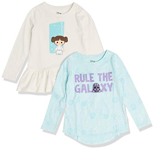 Spotted Zebra Girls' Toddler Disney Marvel Frozen Princess Long-Sleeve Tunic T-Shirts, 2-Pack Star Wars Rule the Galaxy, 4T