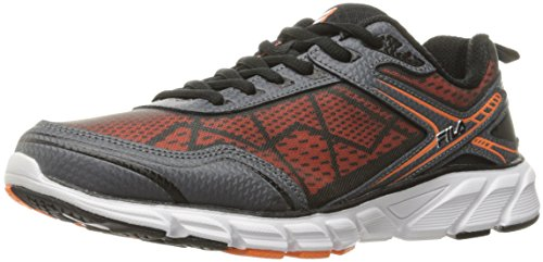 Fila Men's Memory Granted Running Shoe, Castlerock/Black/Vibrant Orange, 9 M US