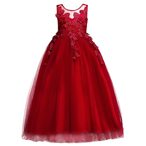 Little Big Girl Bridesmaid Pageant Flower Princess Wedding Formal Prom Floor Long Tulle Dress 7-16T Dance Evening Maxi Gown Red 15-16 Years