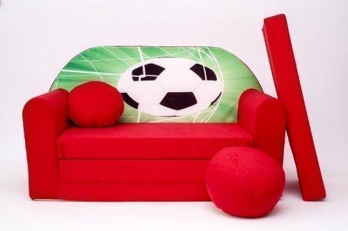 ProCosmo D3, divano letto futon con pouf poggiapiedi cuscino, in tessuto, per bambini, 168x 98x 60cm, rosso