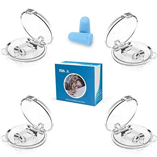 Schnarchstopper,Nasenklammer Nasenspreizer, Upgrade 2020 Premium Schnarch Stopper mit Magnet aus Medizinisches Material BPA-Frei Sofortige Anti Schnarch Hilfe inkl. Transportbox(4+1Stück)
