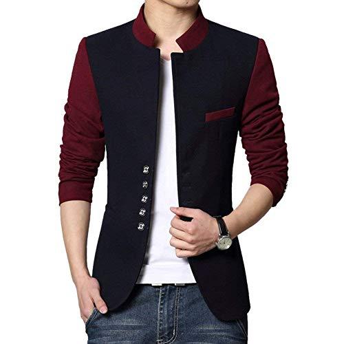HX fashion Herren Mode Koreanisch Schlank Mehrere Knopf Sakko Frühling Herbst Bequeme Größen Outerwear Mantel Elegant Slim Fit Stehkragen Jacke Blazer Kleidung (Color : Dunkel Blau, Size : XS)