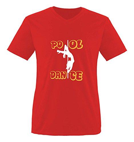 Comedy Shirts - Pool Dance - Herren V-Neck T-Shirt - Rot/Weiss-Gelb Gr. XXL