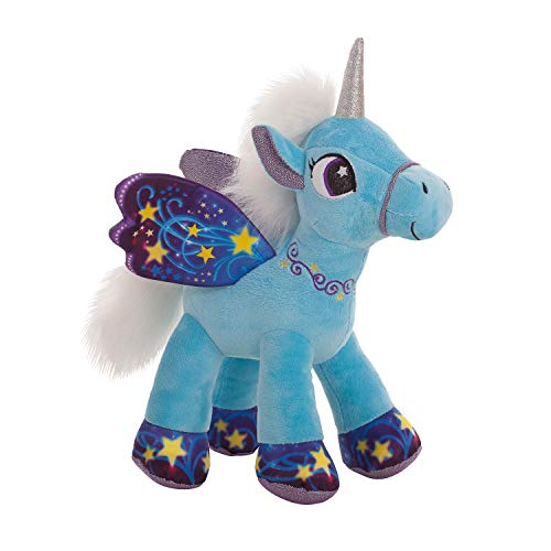 BARRADO Peluche Unicornio con alas de pie - Calidad Supersoft (Azul, 34cm)