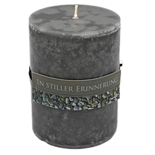 WB wohn trends Rustik Trauer-Kerze mit Duft, In Stiller Erinnerung, Trauer-Spruch 12x8,7cm