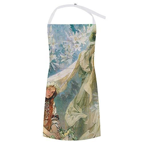 Martha Lattimore Apron Bib Apron with Pocket Waterproof Oil-proof Cooking Kitchen for Women Men Beautiful Woman Madonna of The Lilies Alphonse Mucha Bib Apron for Barbecue Supermarket