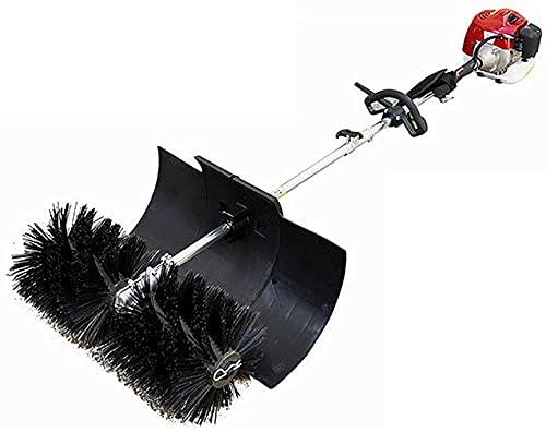 Futchoy Kehrmaschine Benzin Motorbesen Schneeschieber Kehrmaschine Besen Schneefräse 52CC Handkehrmaschine Kehrbesen Schneefräse mit Fahrgestell Schnellwechsel Draussen