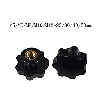 Type: Black NUTW-56691 12 Pcs Star Shape Knob Handle Knurled Clamping Hand Knob with M6 Female Threaded Nuts Knob Grip for Woodworking Fixture