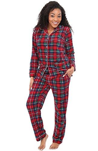 Alexander Del Rossa Women's Warm Fleece Pajamas, Long Button Down Pj Set, Medium Red and Green Plaid (A0324Q19MD)
