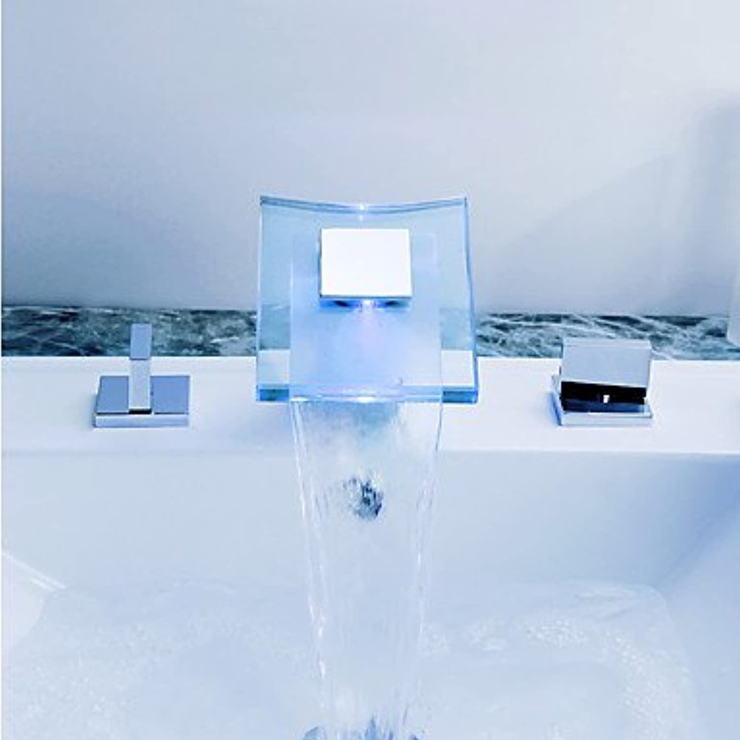 SQL  ?Contemporary Thermostat LED   Widespread with Ceramic Valve Two Handles Three Holes for Chrome Bathtub
