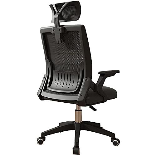 Silla de oficina en casa con altura ajustable y reposacabezas, silla ergonómica giratoria de tarea, silla de ordenador con función de inclinación y bloqueo de posición, negro _2