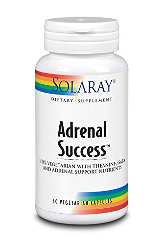 Solaray Adrenal Success   Adaptógenos Herbarios + GABA & L-Theanine para un apoyo saludable al estrés  Sin Gluten   Apto Para Veganos   60 VegCaps
