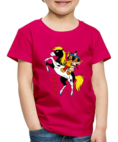 Spreadshirt Yakari Und Regenbogen Auf Pferd Kleiner Donner Kinder Premium T-Shirt, 110-116, Dunkles Pink