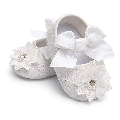 Baby Girl White Shoes Mary Jane Flats Soft Sole Bowknot Floral Princess Christening Baptism Wedding Dress Shoes for Newborns, Infants, Babies 0-6 Months