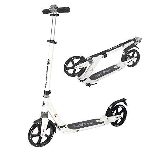 HyperMotion Dragster - Patinete urbano para adolescentes y adultos, carga máxima de 100 kg, plegable con correa, ruedas grandes, doble amortiguación, color blanco