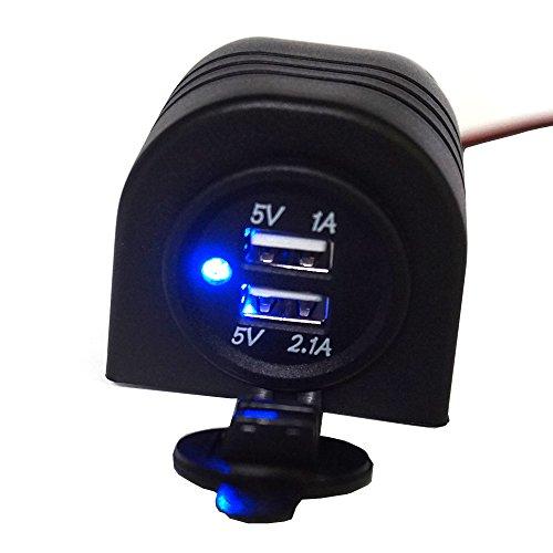 Preisvergleich Produktbild Linchview Zigarettenanzünder 3.1A blau LED mit Umhang Schale Einbau USB Ladegerät Wasserdicht Adapter geeignet für Motorräder,  Wohnmobile RV,  yacht für Telefon,  Tablet,  Navi,  GPS,  Walkie-Talkie-Gerät