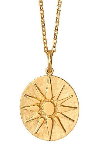 Pernille Corydon Kette Anhänger Sonne Gold - Bali Serie Halskette Plättchen 925 Silber Vergoldet - N211g
