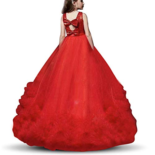 NNJXD Girls Princess Pageant Dress Kids Prom Ball Gowns Sequined Wedding Party Flower Fluffy Dresses Size (130) 7-8 Years Red&