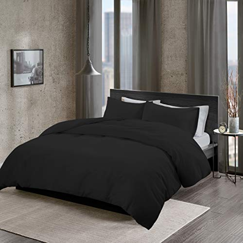 Non-Iron Plain Brushed Duvet Cover Set Single Size - 2 Pcs Ultra Soft Hypoallergenic Microfiber Quilt Cover Sets - Black