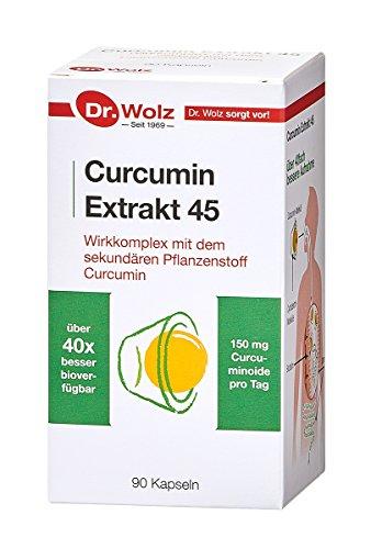 Curcumin Extrakt 45 Dr. Wolz   über 40-fach höhere Bioverfügbarkeit   Vegan   90 Kapseln   Kurkuma
