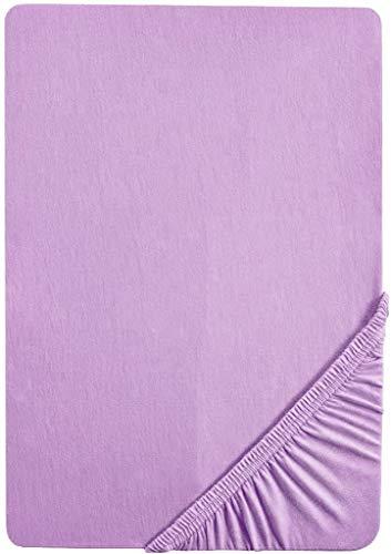 biberna 77144 Jersey-Stretch Spannbetttuch, nach Öko-Tex Standard 100, ca. 180 x 200 cm bis 200 x 200 cm, viola