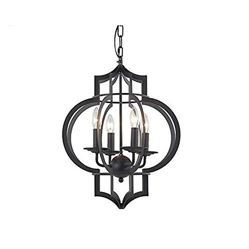 COCNI 4 Luces Colgantes de Jaula Redonda de Metal Ligero E14 Lámpara de araña de Hierro Negro Vintage Iluminación Lustre Luces Colgantes de Loft Forjado Dormitorio Cocina Luz de Techo Interior