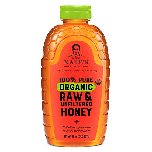 Nature Nate's 100% Pure Organic, Raw & Unfiltered. Squeeze Bottle; Allnatural Sweetener, USDA Certified Organic, No Additives, Honey, 32 Oz