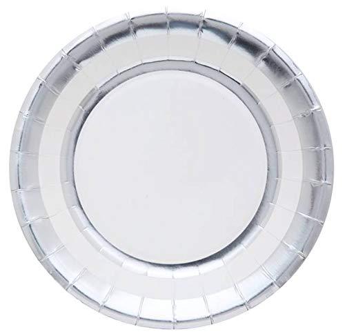 Santex Noel - 10 Assiettes en Carton Ronds Argent métallisé