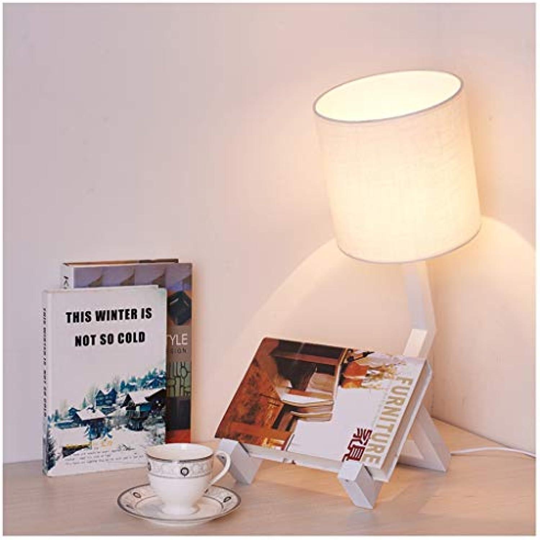 QTDH LED-Stoff-Tischlampe - Roboter-Nachttischlampe - Studie, Die Schreibtischlampe Liest - Kreative Tischlampe Für Schlafzimmer-Wohnzimmer (Farbe   Wei, gre   Taste)