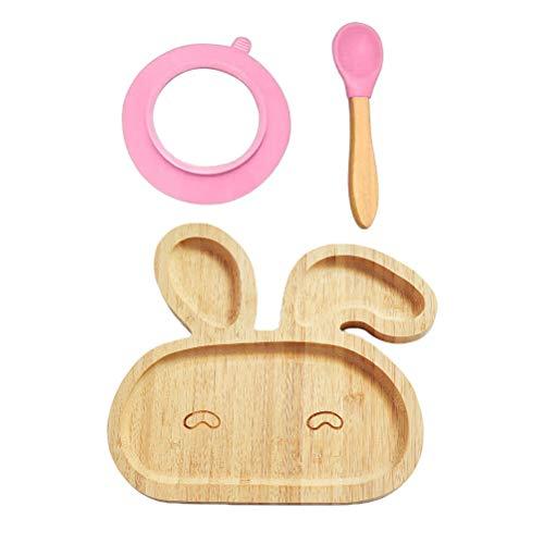 BSTCAR Baby Teller Bamboo, Kaninchenform, Babyteller Saugnapf mit Tischset Und Löffel, Bpa-frei, Babygeschirr, Kindergeschirr für Mädchen & Jungen