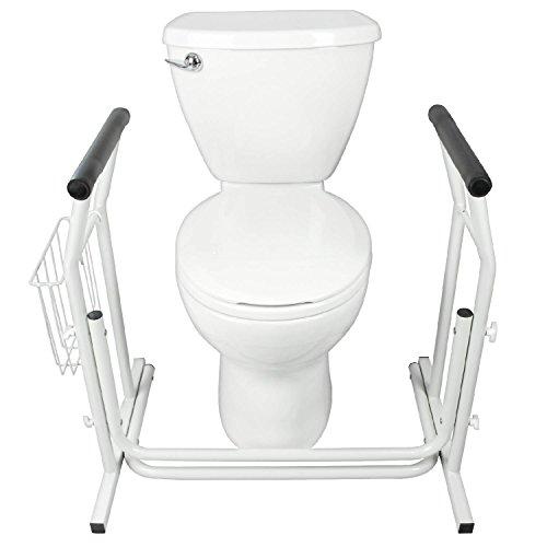 Stand Alone Toilet Rail by Vive - Medical Bathroom Safety Assist Frame w/Grab Bars & Railings for Elderly, Senior, Handicap & Disabled - Padded Handrails
