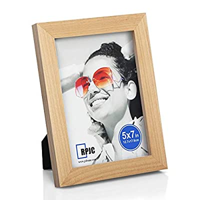 RPJC 5x7 inch Picture Frames Made of Solid Wood High Definition Glass for Table Top Display and Wall Mounting Photo Frame Natural