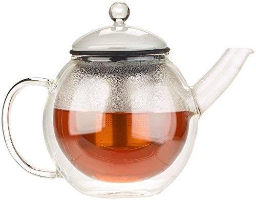 Cucina di Modena Glas Teekanne: Doppelwandige Teekanne mit Aluminiumfilter, 600 ml (Teekanne Glas doppelwandig)