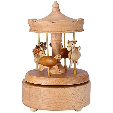 Wifehelper Carillon in Legno Carillon Carillon Romantico da giostra Bellissimi Artigianato in Legno Matrimonio Natalizio Regalo di Compleanno per Bambini Fidanzata